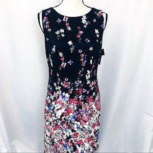 • Alyx • NWT Navy Pink Floral Sheath Dress